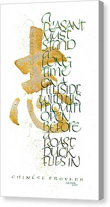 Chinese Peasant Canvas Print - Chinese Proverb by Judy Dodds
