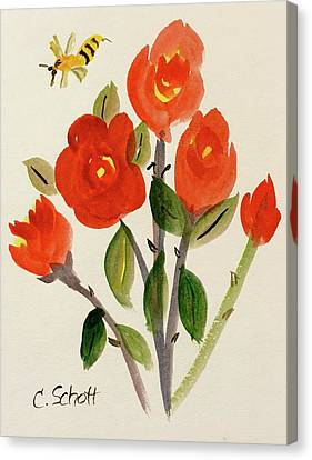 Chinese Red Rose With Bee Canvas Print