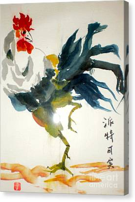 Canvas Print featuring the pastel Chinese Rooster by Pat Crowther