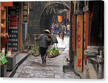 Chinese Woman Carrying Vegetables Canvas Print