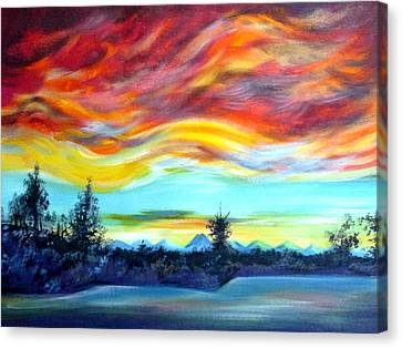 Chinook Arch Over Bow River Canvas Print by Anna  Duyunova