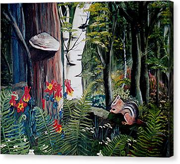 Canvas Print featuring the painting Chipmunk On A Log by Renate Nadi Wesley