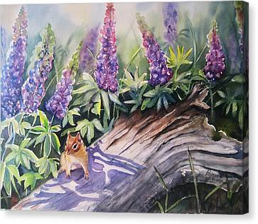 Chipmunk On Log With Lupine Canvas Print by Patricia Pushaw