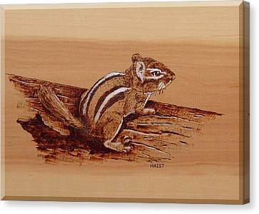 Canvas Print featuring the pyrography Chipmunk by Ron Haist