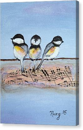 Chirpy Chickadees Canvas Print by Roxy Rich