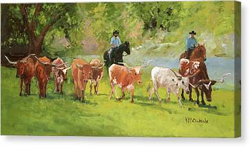 Chisholm Trail Texas Longhorn Cattle Drive Oil Painting By Kmcelwaine Canvas Print by Kathleen McElwaine