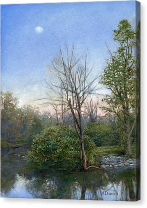Canvas Print featuring the painting Chittenango Creek- Dusk by Wayne Daniels