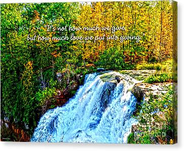 Canvas Print featuring the photograph Chittenango Falls, Ny Mother Teresa  by Diane E Berry