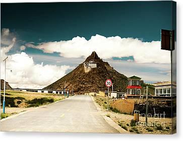Mountain Canvas Print - Chiu Gompa Lake Manasarovar Kailash Yantra.lv Tibet by Raimond Klavins