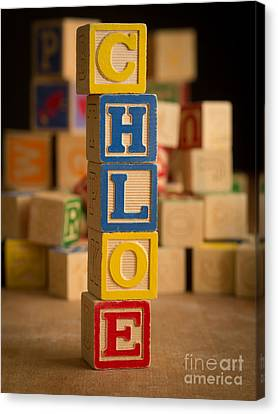Announcement Canvas Print - Chloe - Alphabet Blocks by Edward Fielding