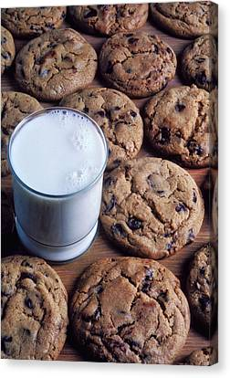 Chocolate Chip Cookies And Glass Of Milk Canvas Print by Garry Gay