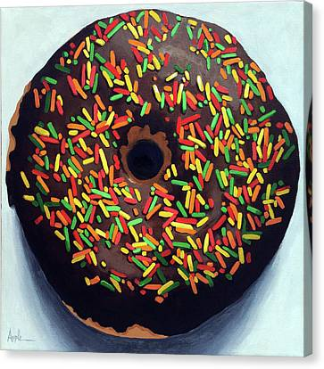 Chocolate Donut And Sprinkles Large Painting Canvas Print by Linda Apple