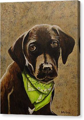 Chocolate Lab Canvas Print by Betty-Anne McDonald