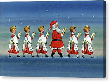 Father Christmas Canvas Print - Choirboys And Santa by Stanley Cooke