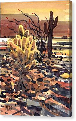 Cholla Saguaro And Ocotillo Canvas Print by Donald Maier