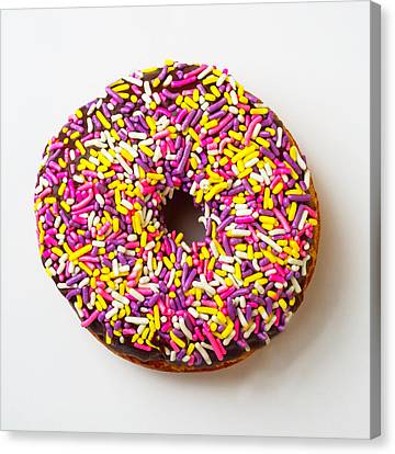 Cholocate Donut With Sprinkles Canvas Print by Garry Gay