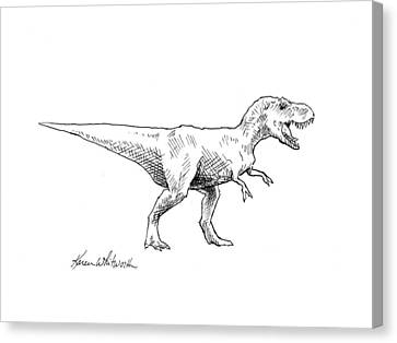 Canvas Print featuring the drawing Tyrannosaurus Rex Dinosaur T-rex Ink Drawing Illustration by Karen Whitworth