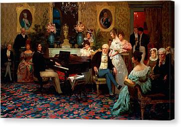 Classical Music Canvas Print - Chopin Playing The Piano In Prince Radziwills Salon by Hendrik Siemiradzki