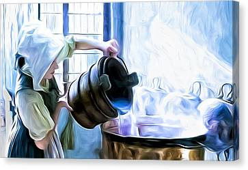 Chores Of A Chambermaid Canvas Print by Tony Meaney