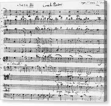 Chorus Of Shepherds, Handwritten Score Of The Opera Ascanio In Alba Canvas Print by Wolfgang Amadeus Mozart
