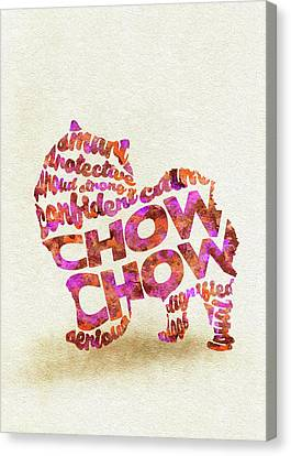 Chow Chow Watercolor Painting / Typographic Art Canvas Print