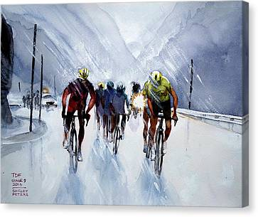 Chris Froome And Others In Rain And Ice Canvas Print by Shirley Peters