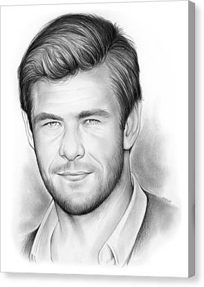 Chris Hemsworth Canvas Print by Greg Joens