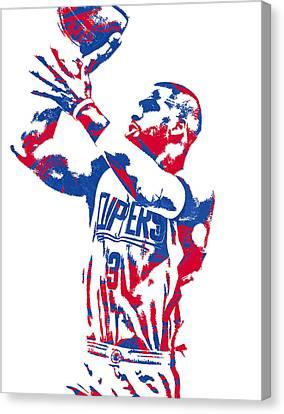 Los Angeles Clippers Canvas Print - Chris Paul Los Angeles Clippers Pixel Art 4 by Joe Hamilton