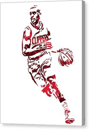 Los Angeles Clippers Canvas Print - Chris Paul Los Angeles Clippers Pixel Art 9 by Joe Hamilton