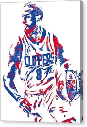 Los Angeles Clippers Canvas Print - Chris Paul Losangeles Clippers Pixel Art 5 by Joe Hamilton