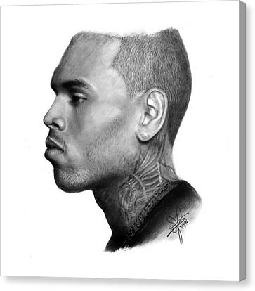 Canvas Print - Chris Brown Drawing By Sofia Furniel by Jul V