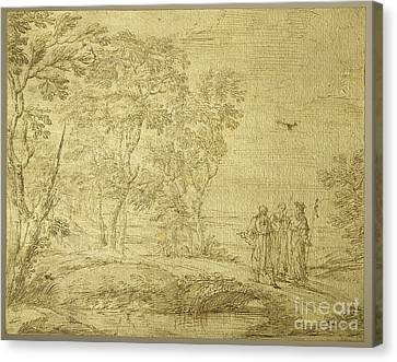 Christ And The Disciples On The Road To Emmaus Canvas Print by Pier Francesco Cittadini