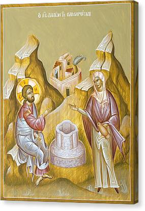 Christ And The Samaritan Woman Canvas Print by Julia Bridget Hayes