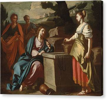 Christ And The Woman Of Samaria At The Well Canvas Print by Francesco Solimena