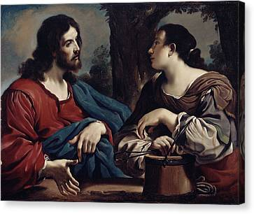 Christ And The Woman Of Samaria Canvas Print by Giovanni Francesco Barbieri Guercino