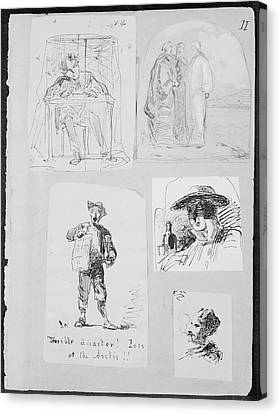 Christ And Two Disciples On The Road To Emmaus From Sketchbook Canvas Print by James McNeill Whistler
