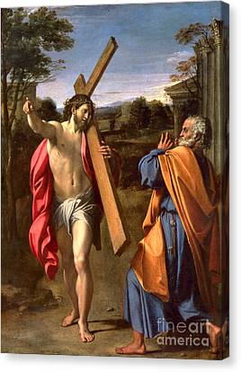 Christ Appearing To St. Peter On The Appian Way Canvas Print by Annibale Carracci