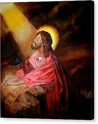 Christ At Gethsemane Canvas Print by G Cuffia