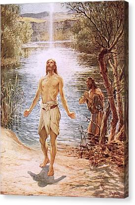 Christ Baptised By John The Baptist Canvas Print by William Brassey Hole