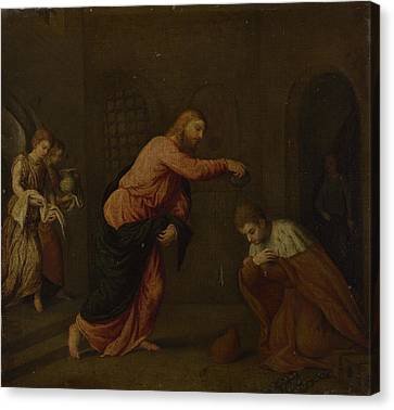 Baptising Canvas Print - Christ Baptising Saint John Martyr by Paris Bordone