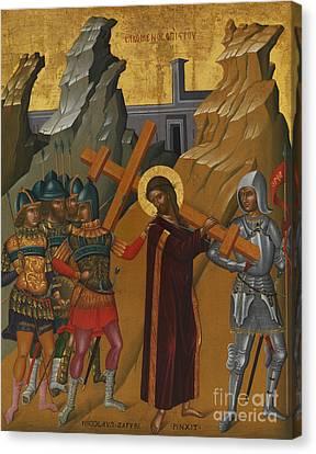 The Wooden Cross Canvas Print - Christ Bearing The Cross by Greek School