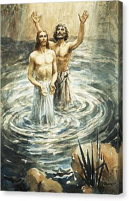 Christ Being Baptised Canvas Print by Henry Coller