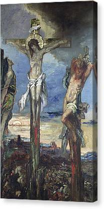 Christ Between The Two Thieves Canvas Print by Gustave Moreau