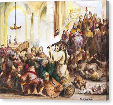 Canvas Print featuring the drawing Christ Driving Out The Money Changers by Rick Ahlvers