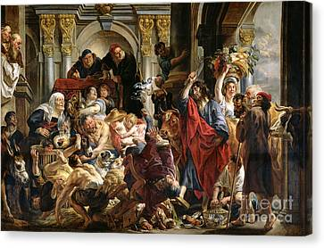 Christ Driving The Merchants From The Temple Canvas Print by Jacob Jordaens