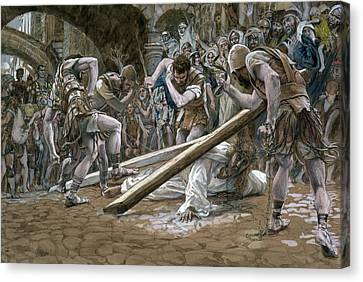 Christ Falls Beneath The Cross Canvas Print by Tissot