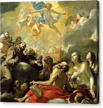 Christ In Glory With The Saints Canvas Print by Mattia Preti