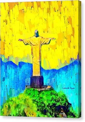 Beaches Canvas Print - Christ In Rio 1 - Da by Leonardo Digenio