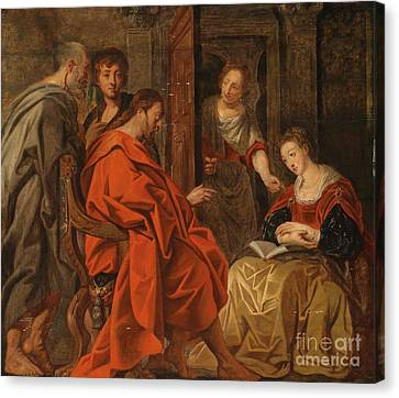 Christ In The House Of Mary Martha And Lazarus Canvas Print