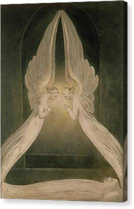 Christ In The Sepulchre Guarded By Angels Canvas Print by William Blake